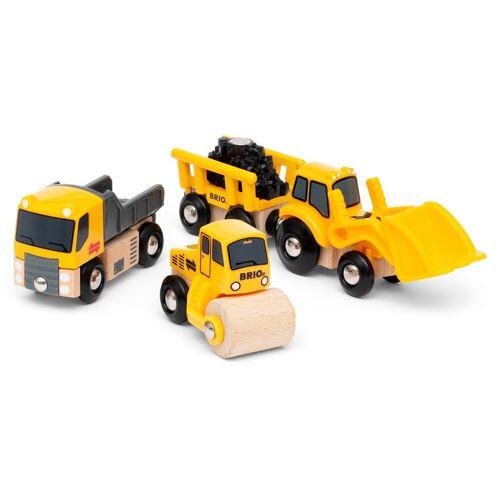 BRIO Spielzeug-Eisenbahn Baustellenfahrzeuge, mit Kipper, Walze und Bagger Anhänger für die Spielzeug-Eisenbahn; FSC - schützt Wald weltweit Einheitsgröße gelb Kinder Kindereisenbahnen Autos, Eisenbahn Modellbau