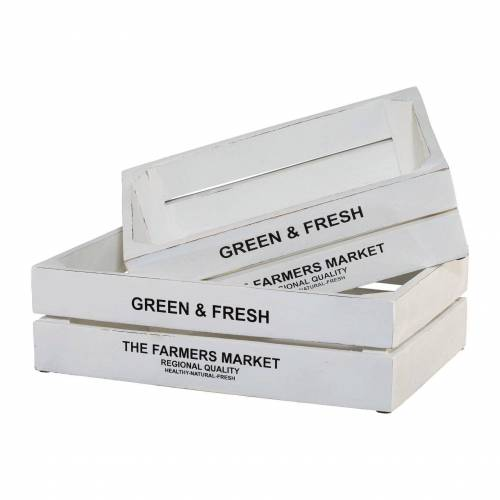 Kiste Green&Fresh, 2er Set B/H/T: 32 cm-37 cm x 10 cm-11 20 cm-25 weiß Körbe Boxen Regal- Ordnungssysteme Küche Ordnung