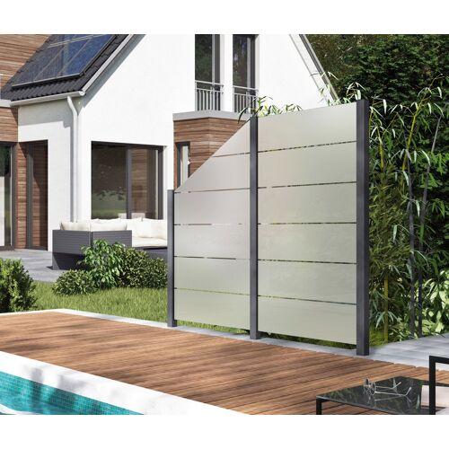 Zaun, Glaszaun, Gesamtlänge: 2,29 m, 3 Pfosten L: m grau Zaun Zaunelemente Zäune Garten Balkon