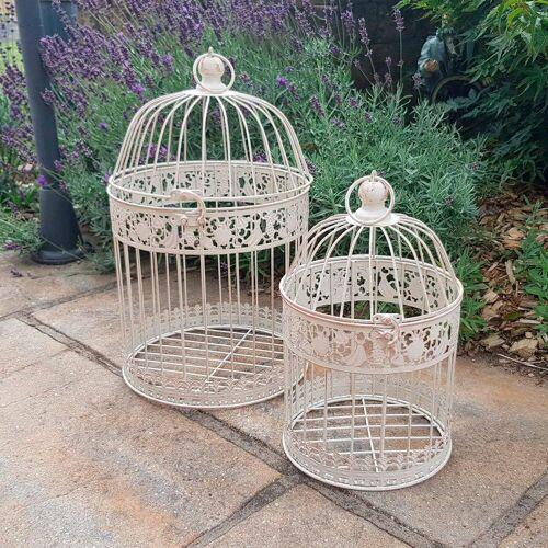 Ambiente Haus Vogelkäfig, 2er Set Outdoor geeignet B/H/L: 25 cm x 45 weiß Vogelkäfig Tierbedarf