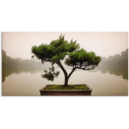 Artland Glasbild Chinesischer Bonsaibaum, Bäume, (1 St.) B/H: 100 cm x 50 grün Glasbilder Bilder Bilderrahmen Wohnaccessoires