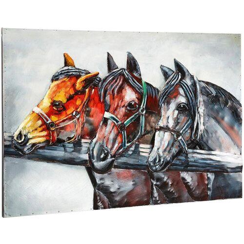 locker Metallbild 3D Horses B/H/T: 108 cm x 72 5 bunt Metallbilder Bilder Bilderrahmen Wohnaccessoires