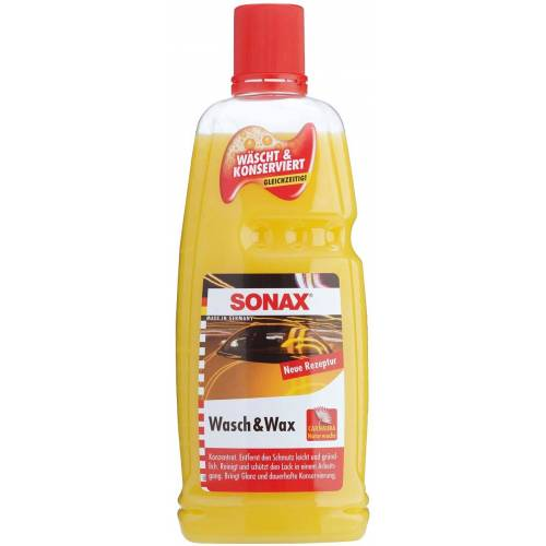 Sonax Lackreinger Wasch&Wax, 1 l 1000 ml gelb Lackreiniger Reinigungsmittel Reinigungsgeräte Küche Ordnung