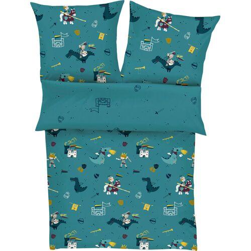 s.Oliver Junior Kinderbettwäsche Ritter, mit Rittermotiven B/L: 135 cm x 200 (1 St.), 80 Satin blau Bettwäsche 135x200 nach Größe Bettwäsche, Bettlaken und Betttücher