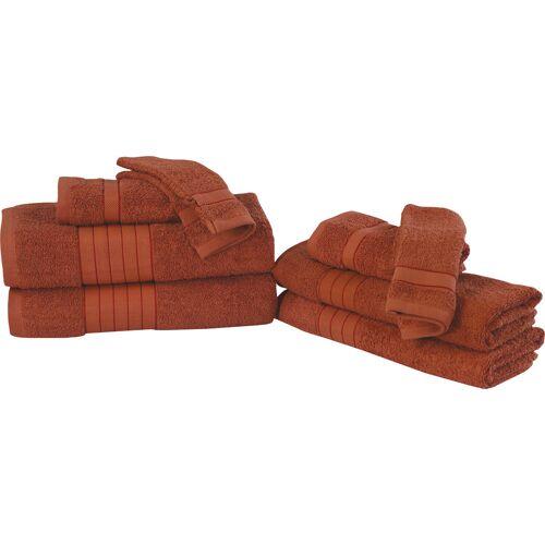 good morning Handtuch Set Uni, mit Webrand 8 tlg. rot Handtuch-Sets Handtücher Badetücher