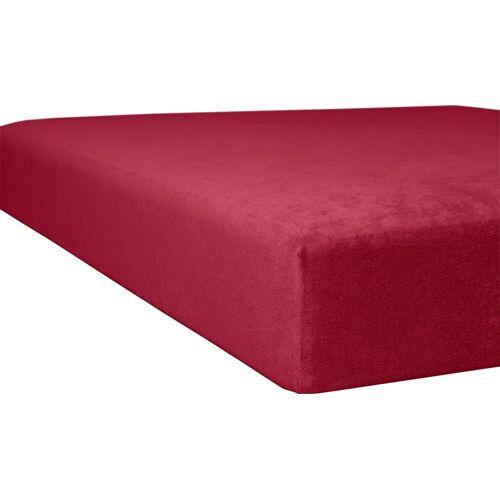 Kneer Spannbettlaken Flausch-Frottee, flauschig B/L: 120-130 cm x 200 (1 St.), Frottee, 22 rot Bettlaken Betttücher Bettwäsche, und