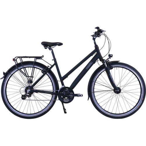 HAWK Bikes Trekkingrad Trekking Lady Premium Black, 24 Gang, Shimano, Altus Schaltwerk 48 cm, 28 Zoll (71,12 cm) schwarz Trekkingräder Fahrräder Zubehör