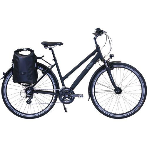 HAWK Bikes Trekkingrad Trekking Lady Premium Plus Black, 24 Gang, Shimano, Altus Schaltwerk 44 cm, 28 Zoll (71,12 cm) schwarz Trekkingräder Fahrräder Zubehör