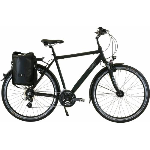 HAWK Bikes Trekkingrad Trekking Gent Premium Plus Black, 24 Gang, Shimano, Altus Schaltwerk 57 cm, 28 Zoll (71,12 cm) schwarz Trekkingräder Fahrräder Zubehör
