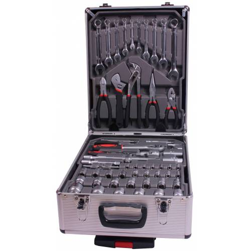 Atrox Werkzeugset Werkzeug-Trolley 186-tlg., (Set, 186 St.) 23 x 37 50 cm grau Werkzeugkoffer Werkzeug Maschinen