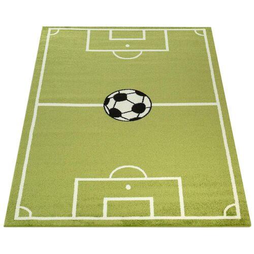 Paco Home Kinderteppich ECE Fussball 953, rechteckig, 14 mm Höhe, Kurzflor, Fußball Spielteppich, Kinderzimmer B/L: 240 cm x 320 cm, 1 St. grün Kinder Bunte Kinderteppiche Teppiche