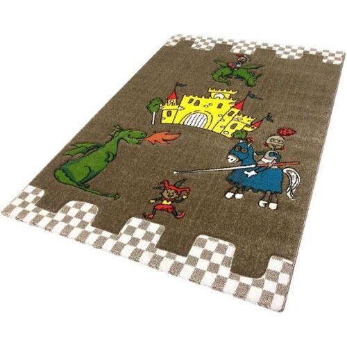 Festival Kinderteppich Momo Ritter, rechteckig, 13 mm Höhe, Drache mit Ritterburg Motiv B/L: 133 cm x 190 cm, 1 St. braun Kinder Bunte Kinderteppiche Teppiche