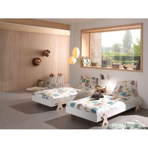 Vipack Einzelbett Modulo, Stapelbett mit Füßen in Smileoptik 2 Einzel-/Stapelbetten (Set), Liegefläche B/L: 90 cm x 200 Betthöhe: 16 cm, kein Härtegrad, ohne Matratze weiß Kinder Kinderbetten Kindermöbel
