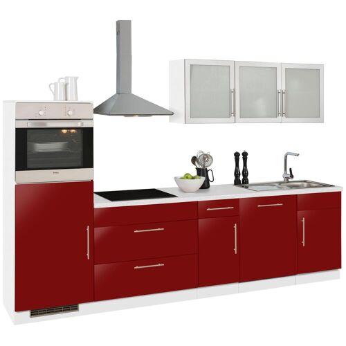wiho Küchen Küchenzeile Aachen, ohne E-Geräte, Breite 300 cm B: rot Küchenserien Küchenmöbel Küche Ordnung