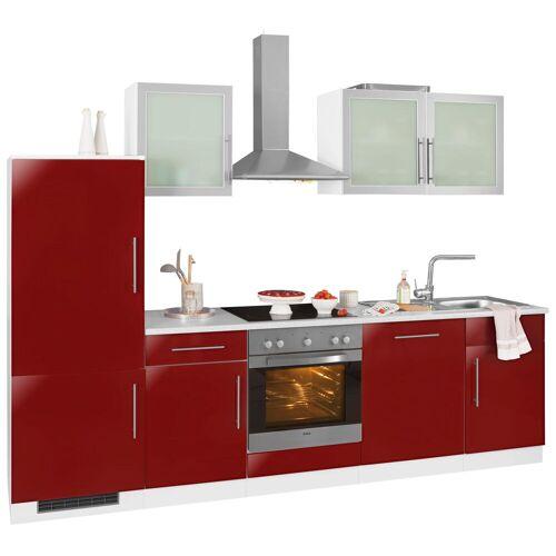 wiho Küchen Küchenzeile Aachen, ohne E-Geräte, Breite 280 cm B: rot Küchenserien Küchenmöbel Küche Ordnung