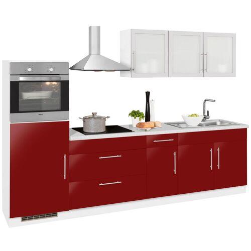 wiho Küchen Küchenzeile Aachen, ohne E-Geräte, Breite 290 cm B: rot Küchenserien Küchenmöbel Küche Ordnung