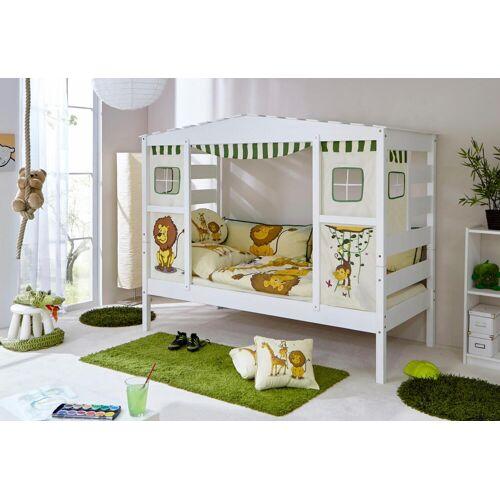 """Ticaa Hausbett Lio Mit Textil-Set """"Safari"""", Liegefläche B/L: 90 cm x 200 cm, kein Härtegrad, Schaumstoffmatratze weiß Kinder Kinderbetten Kindermöbel"""