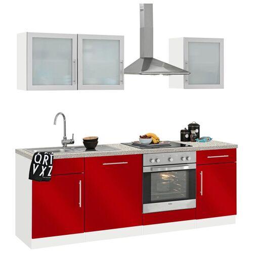 wiho Küchen Küchenzeile Aachen, ohne E-Geräte, Breite 220 cm B: rot Küchenserien Küchenmöbel Küche Ordnung