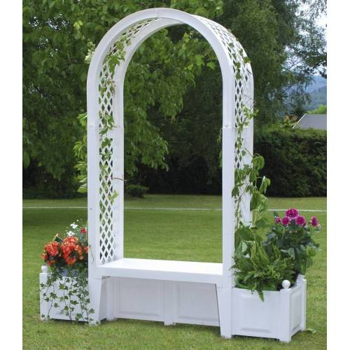 KHW Rosenbogen inkl. Gartenbank Brüssel Weiß B/H/T: 174 cm x 207 49 weiß Spaliere Gartendekoration Gartenmöbel Gartendeko