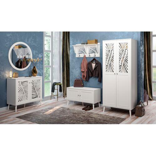 Home affaire Bank Tropical, Metallgriffe mit Kristall Swarovski, Breite 98,5 cm B/H/T: x 55,5 40 weiß Sitzbänke Stühle