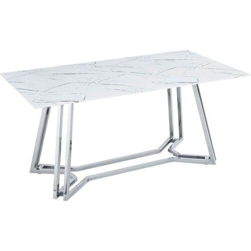SalesFever Esstisch, in Marmoroptik B/H/T: 160 cm x 76 90 cm, Esstisch 160x90 weiß Esstische rechteckig Tische