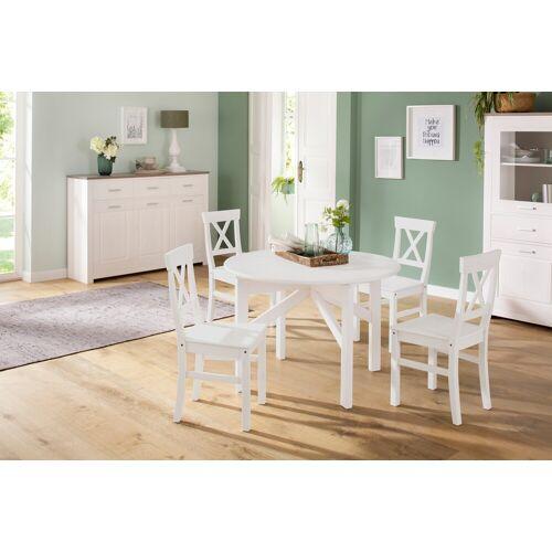 Home affaire Esstisch Rudi, aus Kiefer massiv, ausziehbar B/H/T: 110 cm x 72 weiß Esstische rund oval Tische