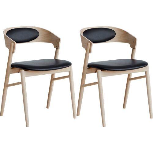 hammel Holzstuhl Findahl 2 St., Leder beige Holzstühle Stühle Sitzbänke