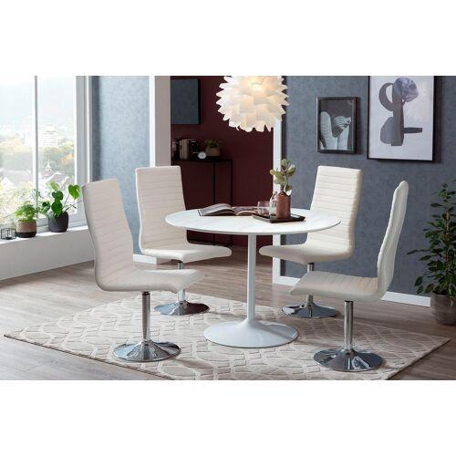 SalesFever Esstisch, Tischplatte in Marmoroptik B/H/T: 110 cm x 75 cm, Weiß weiß Esstisch Esstische rund oval Tische