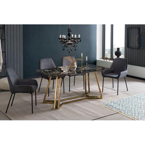 SalesFever Esstisch, in Marmoroptik B/H/T: 160 cm x 76 90 cm, Esstisch 160x90 schwarz Esstische rechteckig Tische