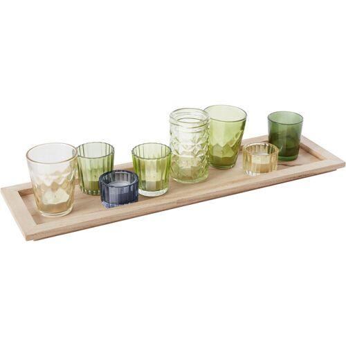 INOSIGN Kerzentablett, mit 8 bunten Teelichthaltern aus Glas B/H/T: 52 cm x 2 14 grün Kerzentablett Kerzenhalter Kerzen Laternen Wohnaccessoires