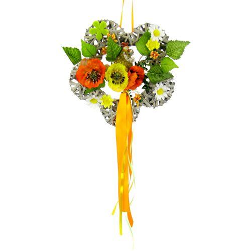 I.GE.A. Kunstkranz Holzblume B/H: 24 cm x orange Kunstkränze Kunstpflanzen Wohnaccessoires