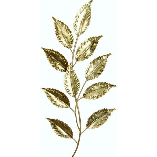 I.GE.A. Wanddekoobjekt Metall-Blatt, Wanddeko, aus Metall, zum Hängen B/H/T: 22 cm x 46 1 goldfarben Wanddekoration Deko Wohnaccessoires