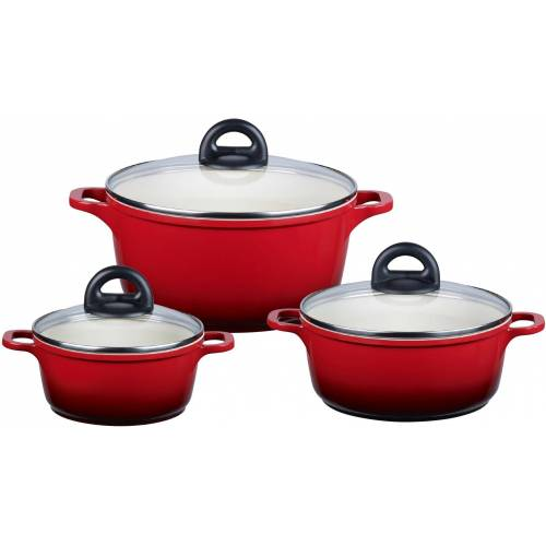 Elo - Meine Küche Topf-Set Red Shadow, Aluminiumguss, (Set, 6 tlg.), Induktion H: 7,5 cm-8,5 cm-11,5 cm rot Topfsets Töpfe Haushaltswaren
