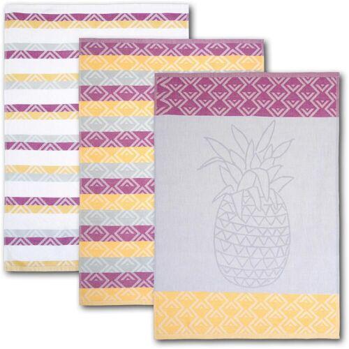 Dyckhoff Geschirrtuch Ananas, (Set, 6 tlg.), mit drei verschiedenen Motiven tlg., 100 % Baumwolle bunt Geschirrtücher Küchenhelfer Haushaltswaren