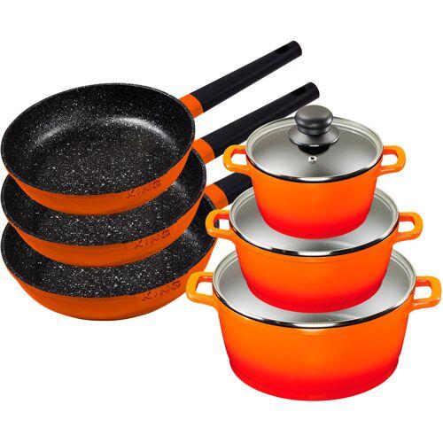 KING Topf-Set Shine Orange, Aluminiumguss, (Set, 9 tlg., 3 Pfannen, Töpfe, Deckel), Induktion Einheitsgröße orange Topfsets Töpfe Haushaltswaren