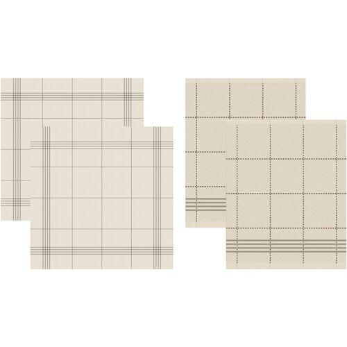 DDDDD Geschirrtuch Morvan, (Set, 4 tlg., Combi-Set: bestehend aus 2x Küchentuch + Geschirrtuch) 100 % Baumwolle beige Geschirrtücher Küchenhelfer Haushaltswaren
