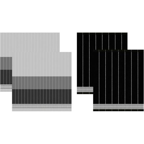 DDDDD Geschirrtuch Jules, (Set, 4 tlg., Combi-Set: bestehend aus 2x Küchentuch + Geschirrtuch) 100 % Baumwolle schwarz Geschirrtücher Küchenhelfer Haushaltswaren