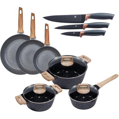 KING Topf-Set Essential, Aluminium, (Set, 12 tlg., 3 Töpfe, Deckel, Pfannen, Küchenmesser), Induktion Einheitsgröße schwarz Topfsets Töpfe Haushaltswaren