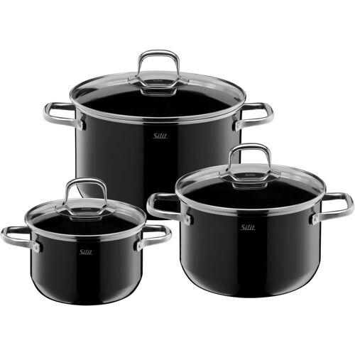 Silit Topf-Set Elegance Line, Silargan, (Set, 3 tlg.), induktionsgeeignet Ø 24 cm-20 cm-16 cm schwarz Topfsets Töpfe Haushaltswaren