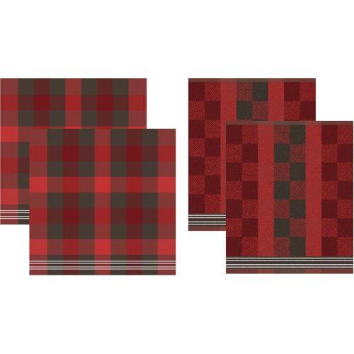 DDDDD Geschirrtuch Feller, (Set, 4 tlg., Combi-Set: bestehend aus 2x Küchentuch + Geschirrtuch) 100 % Baumwolle rot Geschirrtücher Küchenhelfer Haushaltswaren