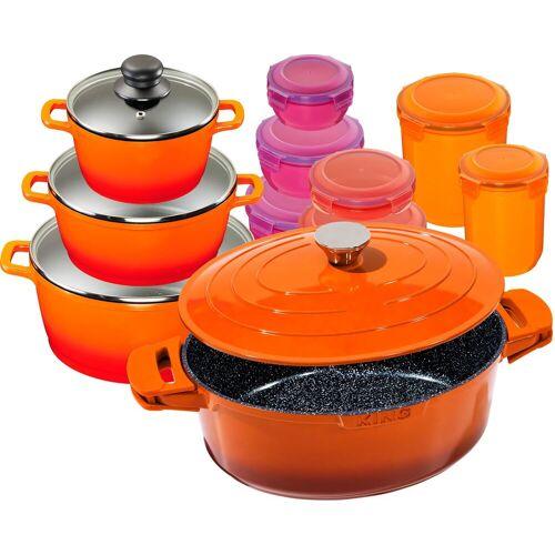 KING Topf-Set Shine Orange, Aluminiumguss, (Set, 11 tlg., 3 Töpfe, Deckel, 1 Bräter m. 7 Dosen), Induktion Einheitsgröße orange Topfsets Töpfe Haushaltswaren