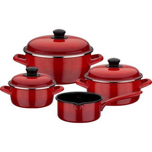 GSW Topf-Set Red Shadow, Emaille, (Set, 7 tlg.), Induktion Ø 16 cm-20 cm-24 cm rot Topfsets Töpfe Haushaltswaren