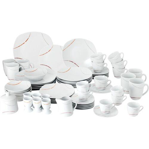 van Well Geschirr-Set Porto, (Set, 62 tlg.), Eckige Form Einheitsgröße weiß Geschirr-Sets Geschirr, Porzellan Tischaccessoires Haushaltswaren