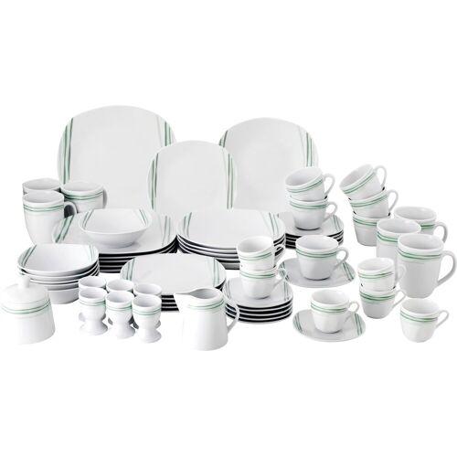 van Well Geschirr-Set Soraya, (Set, 62 tlg.), Eckige Form Einheitsgröße weiß Geschirr-Sets Geschirr, Porzellan Tischaccessoires Haushaltswaren