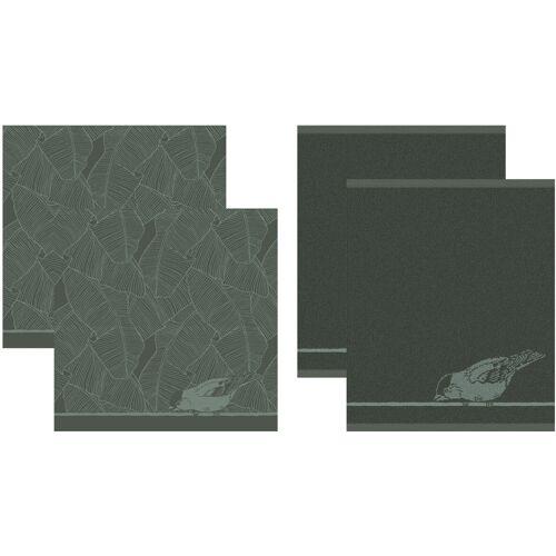 DDDDD Geschirrtuch Birdy, (Set, 4 tlg., Combi-Set: bestehend aus 2x Küchentuch + Geschirrtuch) 100 % Baumwolle grün Geschirrtücher Küchenhelfer Haushaltswaren