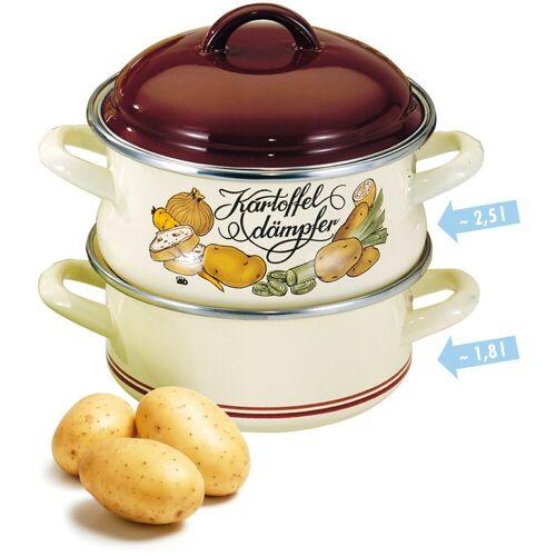 Elo - Meine Küche Dampfgartopf, Emaille, (1 tlg.) Ø 18 cm braun Dampfgartopf Gemüsetöpfe Töpfe Haushaltswaren