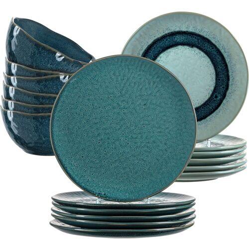 LEONARDO Geschirr-Set Matera, (Set, 18 tlg.), rustikaler Look Einheitsgröße blau Geschirr-Sets Geschirr, Porzellan Tischaccessoires Haushaltswaren