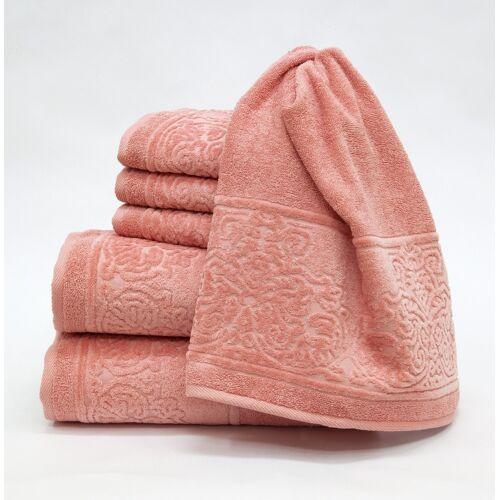 Döhler Handtuch Set Retro 6-teilig, 6 tlg. rosa Handtuch-Sets Handtücher Badetücher
