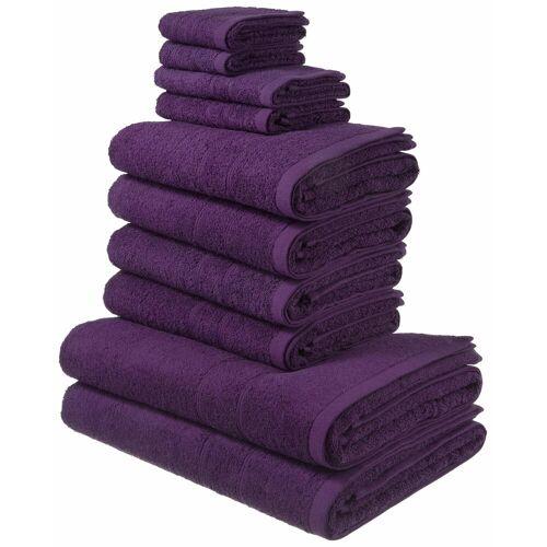 my home Handtuch Set Inga, mit feiner Bordüre 10 tlg. lila Handtuch-Sets Handtücher Badetücher