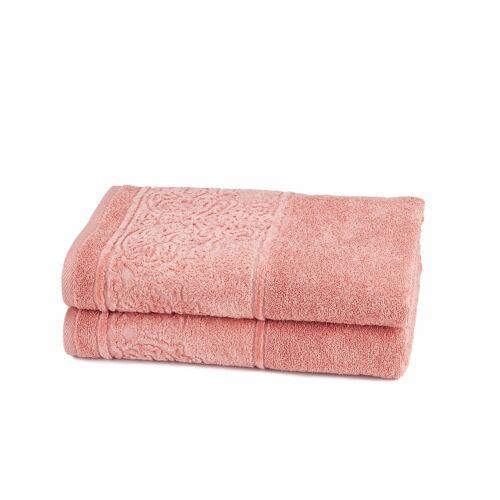 Döhler Handtuch Set Retro 2 tlg. rosa Handtuch-Sets Handtücher Badetücher